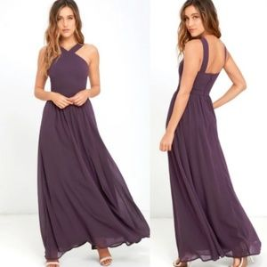 Lulu's Purple Halter Maxi Dress Air of Romance